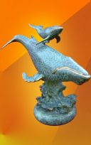 HOT CAST BLUE WHALE WITH CALF BRONZE STATUE
